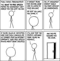 "The real story behind ""free speech"" as excellently summed up by xkcd."