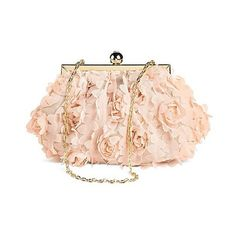 Rose Lace Clutch Handbag Pink ($30) ❤ liked on Polyvore featuring bags, handbags, clutches, purses, blush, plus size, flower purse, pink hand bags, lace clutches and pink purse