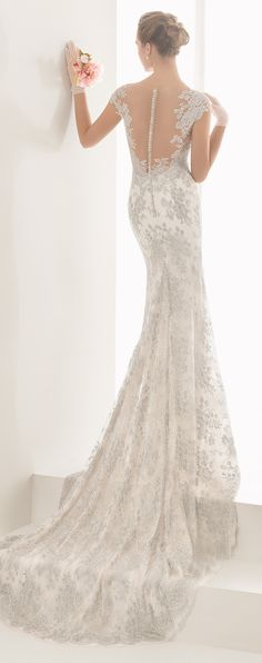 Silver French lace column wedding dress with tattoo-effect neckline and back, in silver/natural - Rosa Clara