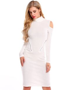 White Turtleneck Cold Shoulder Zip Bodycon Sweater Dress