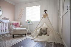 Baby Girl Shabby Chic Nursery - how fun is this teepee?! - ProjectNursery.com