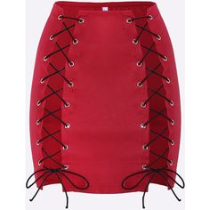 Yoins Red Sexy Lace-up Side Irregular Hem Mini Skirt ($16) ❤ liked on Polyvore featuring skirts, mini skirts, red, lace up skirt, patterned mini skirt, red miniskirt, patterned skirts and red skirt