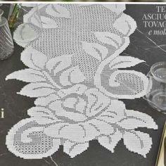 Filet Crochet, Crochet Doily Diagram, Crochet Doily Patterns, Crochet Doilies, Crochet Stitches, Crochet Table Runner, Crochet Tablecloth, Chantilly Lace, Single Crochet