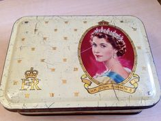 Vintage Queen Elizabeth Coronation tin./storage tin/ metal Box by trevoranna on Etsy