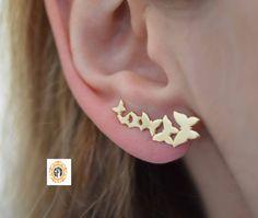 Butterfly ear crawler silver or with gold overlay. Etsy ear crawler, women ear jacket etsy, trending items on etsy. Butterfly Pin, Butterfly Earrings, Bespoke Jewellery, Stud Earrings, Silver Earrings, Ear Jacket, Minimalist Jewelry, Ear Piercings, Jewelry Design