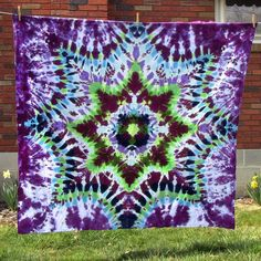 60 x 64 Size  Tie Dyed Mandala Tapestry by TyeDyeBills on Etsy, $40.00