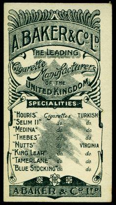 Cigarette Card Back - Baker's Actresses 1900
