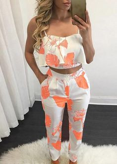 Woman Summer Sets Printed Suspenders Vest Hip Two Sets Of Pants Casual Sleeveless Suits 2 XL Modest Fashion, Fashion Outfits, Printed Jumpsuit, Two Piece Outfit, Elegant Outfit, Jumpsuits For Women, Fashion Prints, Stylish Outfits, Clothes For Women