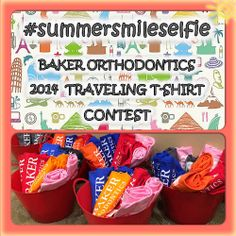 Baker Orthodontics 2014 Traveling T-Shirt Contest kicks off today! Check out all the details when you are in at your next appointment! Orthodontics Marketing, Work Gifts, Office Games, Office Fun, Office Ideas, Dental Health, Dentistry, Marketing Ideas, Chiropractic