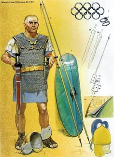 Roman Legionary in the army of Augustus, 32-31 BCE. Artwork by Angus McBride