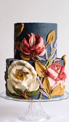 Gorgeous Cakes, Pretty Cakes, Cute Cakes, Amazing Cakes, Buttercream Flowers, Buttercream Cake, Bolo Cake, Painted Cakes, Wedding Cake Inspiration