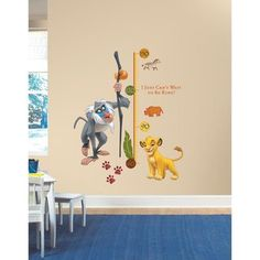@Overstock - Disney The Lion King Rafiki Peel and Stick Metric Growth Chart Wall Decals - You can easily measure your little one's growth with these removable and repositionable wall decals.  http://www.overstock.com/Baby/Disney-The-Lion-King-Rafiki-Peel-and-Stick-Metric-Growth-Chart-Wall-Decals/9352671/product.html?CID=214117 $25.99