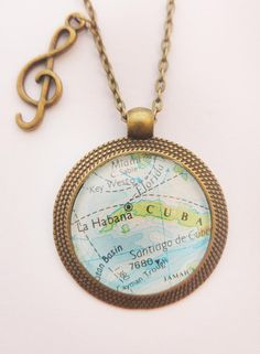 Cuba, Havana Map Pendant, La Habana Antique Bronze Vintage Map Necklace with Clef Charm by MadamePapyrus on Etsy Map Necklace, Pendant Necklace, Large Envelope, Small Gift Bags, Cuba, Bronze, Antiques, Gifts, Havana