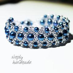 Blue glass bracelet by SimplyByGrySorensen on Etsy