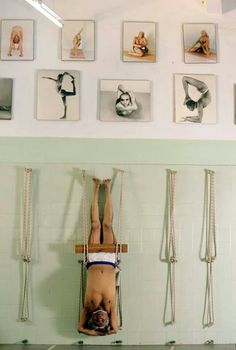 Bks Iyengar in rope sirsasana. One of the many inventions he created so all people may do yoga. :-)