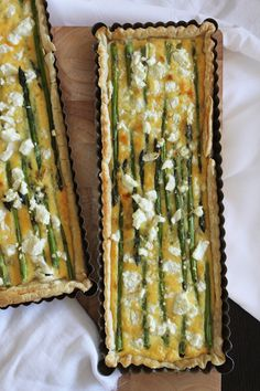 Caramelised leek, asparagus and goat cheese tart