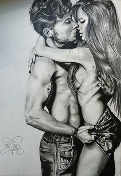 Portrait dessin couple for ever in love