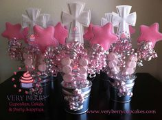 6 Girl Baptism Centerpieces by VeryberryParty on Etsy Girl Baptism Centerpieces, Baptism Decorations, Party Centerpieces, Birthday Party Decorations, First Communion Party, Baptism Party, First Holy Communion, Baptism Favors, Baptism Ideas