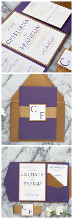 PURPLE AND GOLD Wedding Invitations are (quickly!) becoming Fall 2017 Trend! We paired our metallic purple pocketfold with our antique gold envelopes and gold glitter for a fabulous wedding invitation suite!