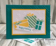 handmade card, birthday card, greeting card, handmade birthday card, presents, embossed, yellow & green, DIY, demonstrator, paper crafting, hobby, easy, quick, rubber, stamps, stamping, craft, paper, *Stampin' Up, by Amy Frillici, Gathering Inkspiration, order products online at amysuzanne.stampinup.net