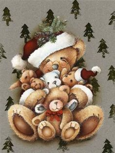 ampliar Christmas Scenes, Christmas Pictures, Christmas Art, Vintage Christmas, Christmas Decorations, Christmas Ornaments, Xmas, Christmas Teddy Bear, Christmas Animals