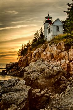 Historic Bass Harbor Lighthouse in Bass Harbor, Maine taken at sunset. Bass Harbor Lighthouse, Maine Lighthouses, Mount Desert Island, Beautiful World, Beautiful Places, Amazing Places, Beacon Of Light, Acadia National Park, National Forest