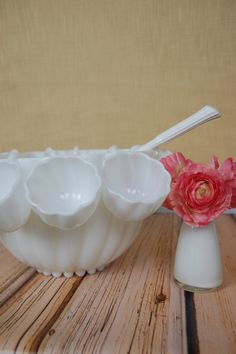 Vintage Hazel Atlas Opaque Colonial Swirl Milk Glass by sugarSCOUT, $78.00