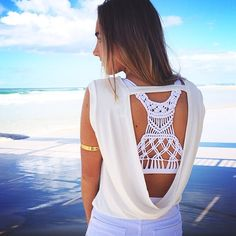 Macrame Malia Crop Top under an open back tee SaboSkirt