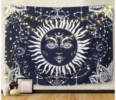 Psychedelic Sun and Moon Tapestry, Wall Hanging Tapestry Dark Blue White Celestial Tapestry Indian Hippy Bohemian Mandala Tapestry for Bedroom Living Room Decor Blue Tapestry, Tapestry Bedroom, Mandala Tapestry, Tapestry Wall Hanging, Wall Hangings, Living Room Kitchen, Living Room Decor, Living Area, Small Living