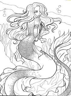 draw an awesome coloring book page Mermaid Coloring Pages, Adult Coloring Book Pages, Printable Adult Coloring Pages, Cartoon Coloring Pages, Coloring Pages To Print, Colouring Pages, Coloring Books, Mermaid Drawings, Mermaid Tattoos