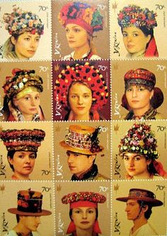 Ukraine,traditional, head, wedding, postal stamp collection
