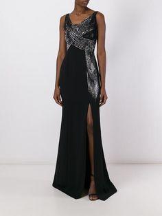 Versace Collection 메탈릭 패널 롱 드레스