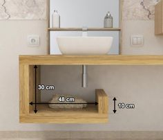 Sale on-line wash basin shelf - solid wood - customized shelf - bathroom furniture - available in 4 types of natural solid wood Wood Bathroom, Bathroom Colors, Bathroom Storage, Modern Bathroom, Small Bathroom Furniture, Washbasin Design, Downstairs Toilet, Minimalist Bathroom, Bath Remodel