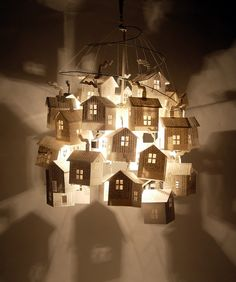 pendant light made of 33 paper houses, constructed from vintage cookbood pages ~ hutch studio: More on the Light Post.