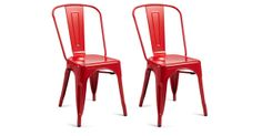 Red Liv Metal Chairs, Pair