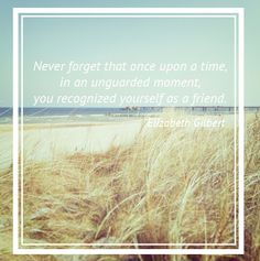 Never forget that once upon a time in an unguarded moment, you recognized yourself as a friend. Elizabeth Gilbert Quote