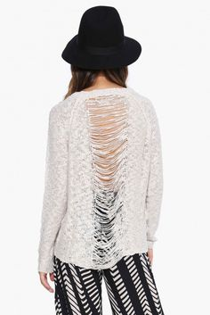Barely Got Away Long Sleeve Shredded Back Sweater in Beige   Necessary Clothing