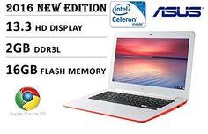 2016 Newest Model Asus 13.3 inch HD Premium Built Chromebook, Intel Dual-Core Processor 2.16GHz, 2GB DDR3, 16GB EMMC flash memory, 802.11 AC, Webcam, HDMI, USB 3.0, SD Card Reader, Chrome OS, Red Flash Memory, Chromebook, Card Reader, New Model, Sd Card, Laptops, Core, Usb, Memories