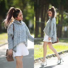 Chloe T - Sweater - Grey and White