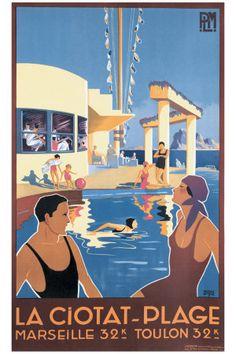 Ancienne affiche La Ciotat plage