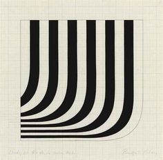 Bridget Riley (British, b. 1931), Study '66 R+Angle Curve No 1, 1966. Gouache and graphite on paper, 12 x 12 in.