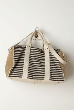 sequined / striped weekend bag