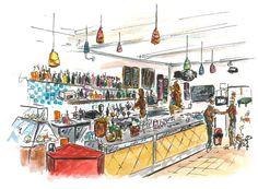 Il bancone del Bar Miki e Max a Bologna, Santo Stefano, illustrato da @malacsam