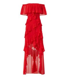 Badgley Mischka Women's Dress Red Size 6 off Shoulder Ruffle Gown - for sale online Lace Sheath Dress, Chiffon Dress, Red Chiffon, Gown Dress, Dress Red, Ruffle Dress, Off Shoulder Gown, Designer Gowns, Badgley Mischka