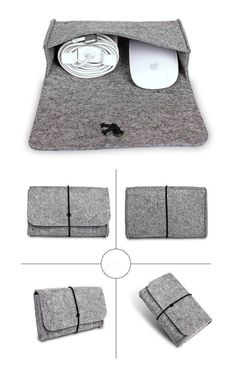 Mouse Charger Usb Cable Bag Digtal Storage Bag For Macbook Ipad Laptop Wool