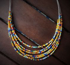 """Multi Color Mosaic Beaded 6 - Strand Graduating Layered Metal Wire Necklace, 16"""" - 18"""" by SimpleAccessoriesAMZ on Etsy"""