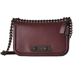 COACH Glovetan Coach Swagger Shoulder Bag (DK/Oxblood) Handbags (1.535 BRL) ❤ liked on Polyvore featuring bags, handbags, shoulder bags, crossbody purses, coach handbags, coach shoulder bag, leather crossbody handbags and leather crossbody purses