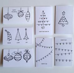 Your friends and family are sure to be impressed with these HAND DRAWN cards! Purchase includes: 7 Cards - printed on Card stock - Choose BROWN OR WHITE - Choose OR 7 White envelopes Ships quick letters card 7 Piece Variety Pack HAND DRAWN Christmas Cards Christmas Cards Drawing, Simple Christmas Cards, Christmas Doodles, Homemade Christmas Cards, Christmas Tree Cards, Handmade Christmas, Holiday Cards, Christmas Diy, Christmas Countdown