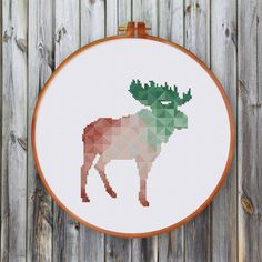 Geometric Moose, spring minimalist cross stitch pattern, mountain house wall hanging, modern cross stitch pattern, modern moose cross stitch by ThuHaDesign on Etsy https://www.etsy.com/listing/457181062/geometric-moose-spring-minimalist-cross