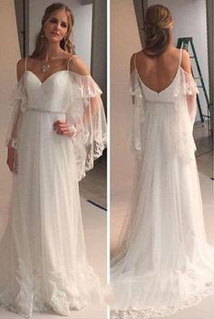 Cold Shoulders Hippie Wedding Dress 71202026f897